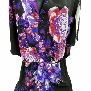 New York & Company Women's Black Colorful Floral L